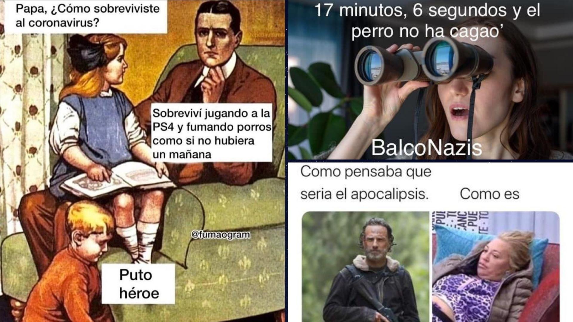 """Memes relacionados con la pandemia y el confinamiento por la COVID-19, que ilustran este post """"Exilio, olvido y desengaño. Algunas figuras del fracaso""""."""