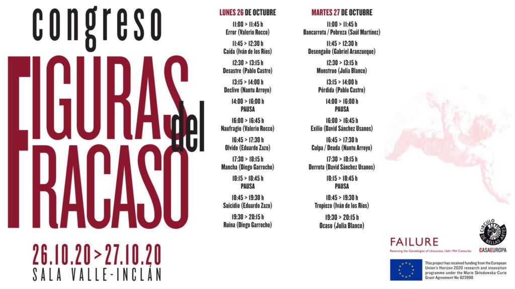Cartel del Congreso Figuras del Fracaso celebrado en el Círculo de Bellas Artes.