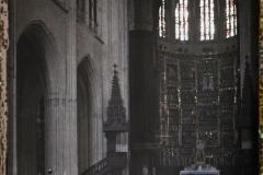Espagne, Oviedo, La nef centrale de la Cathédrale sans Coro ; dans le fond, la Capilla major.