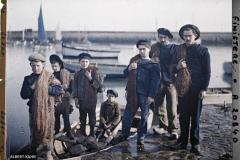 France, Roscoff, Le départ pour la pêche, Mr Masson fils avec s/équipe de marins pêcheurs