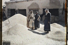 Syrie, Damas, Marché au blé, à droite, un type Druse du Hauran, un Bédouin et une Bédouine