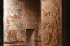 Egypte, Sakkara, Pilier et porte du tombeau du fils de Méra