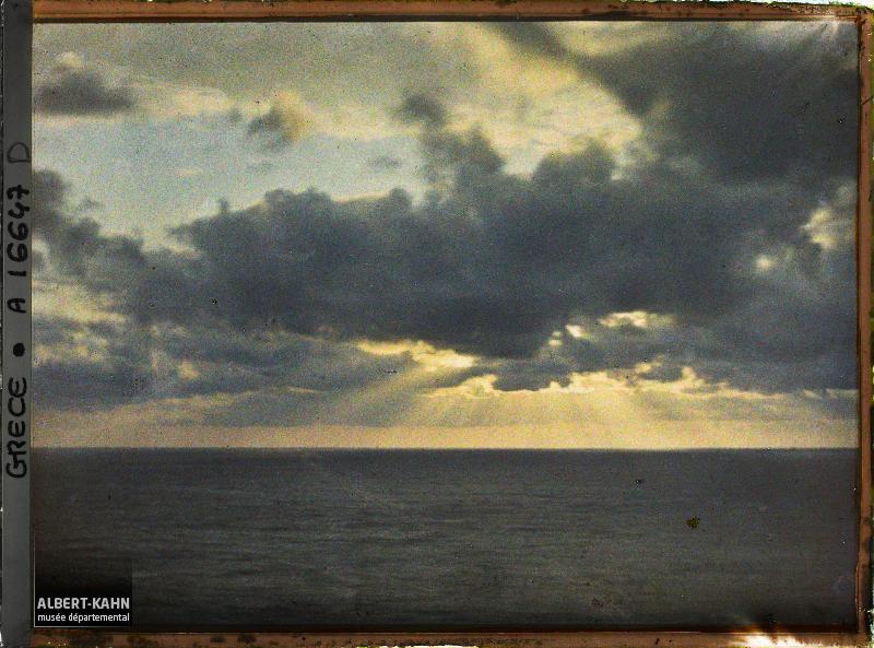 Turquie, Mont Athos, Stravonikita, Lever de Soleil sur la mer
