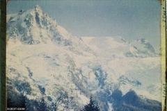 France, Les Alpes -Vallée de Chamonix Soleil couchant s/ l'aige du Midi et le Glacier des Bossons