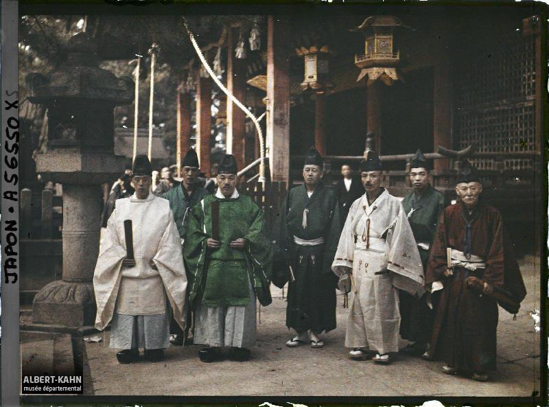 Japon, Kyoto, prêtres Shintoïste en Costume de Cérémonie