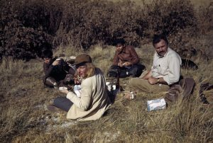 [Ernest Hemingway, his sons, Gregory and Patrick, and Martha Gellhorn, Sun Valley, Idaho], November 1941.