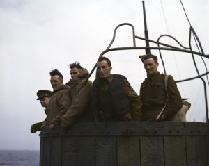 [Five British soldiers on a troop ship from England to North Africa], 1943.