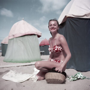 [Woman in a bikini, Deauville, France], August 1951.