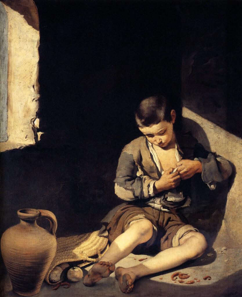 """En el XVIII la pobreza se asociaba al hundido o bajo, al despojado y al expoliado. Imagen """"Joven mendigo"""" de Murillo."""