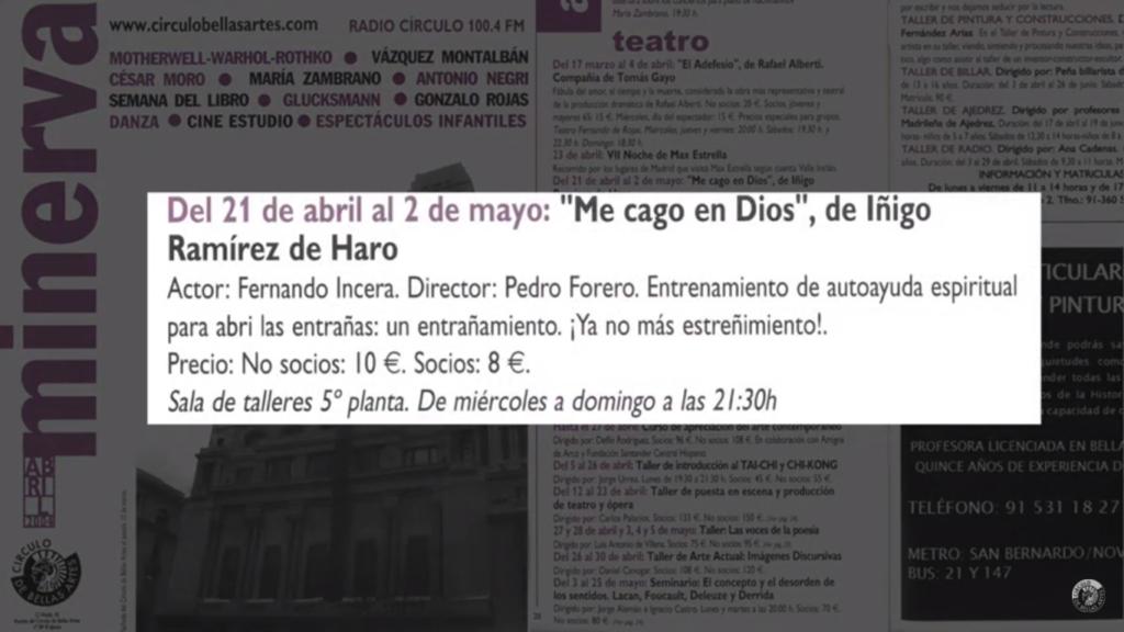 """Programación de """"Me cago en Dios"""" en el Círculo de Bellas Artes en 2004."""