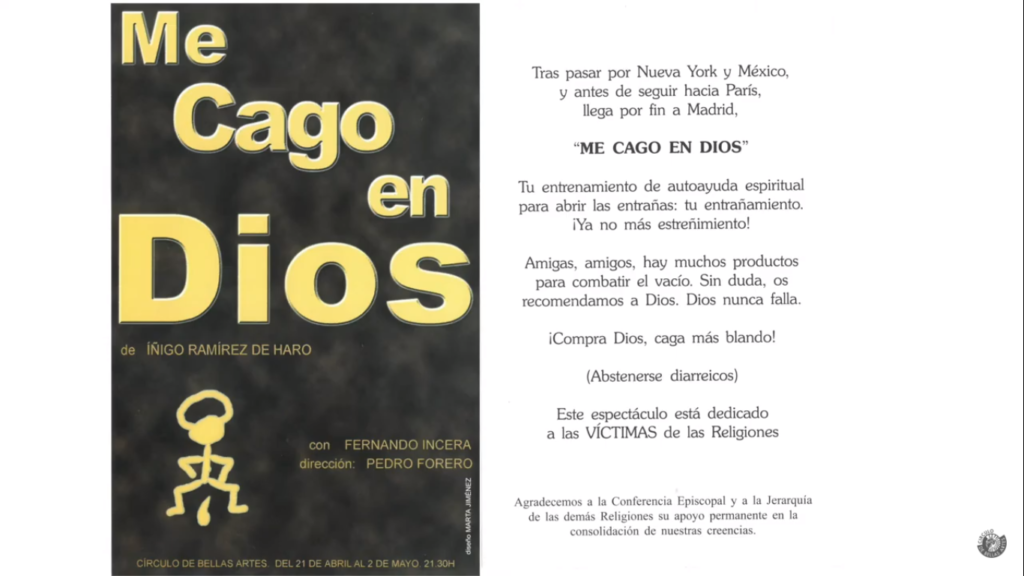 """Programa de mano de """"Me cago en Dios"""" en 2004 en el Círculo de Bellas Artes."""