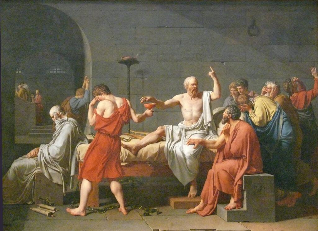 La muerte de Sócrates, Jacques-Louis David, Metropolitan NY. Imagen que ilustra el Seminario de Filosofía del CBA.