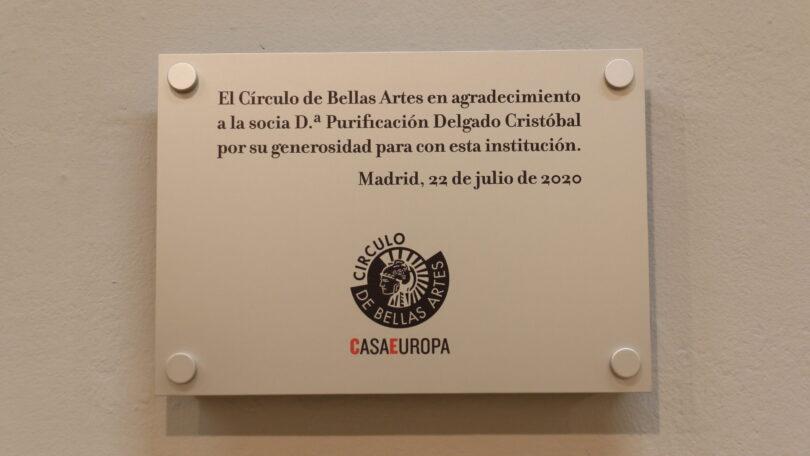 Placa conmemorativa a Dª Purificación Delgado Cristóbal